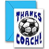 """SOCCER 3-PACK """"Thanks Awesome SOCCER Coach!"""" SPORTS POWERCARD Greeting Cards (5x7) Perfect for youth sports - inspiring team coach gifts, season party, big games or anytime to express """"Thank You!"""" - COACH will love it! #AllProfitsToHelpKids"""