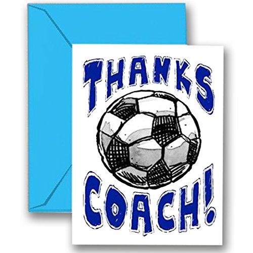SOCCER 3-PACK Thanks Awesome SOCCER Coach! SPORTS POWERCARD Greeting Cards (5x7) Perfect for youth sports - inspiring team coach gifts, season party, big games or anytime to express Thank You! - C