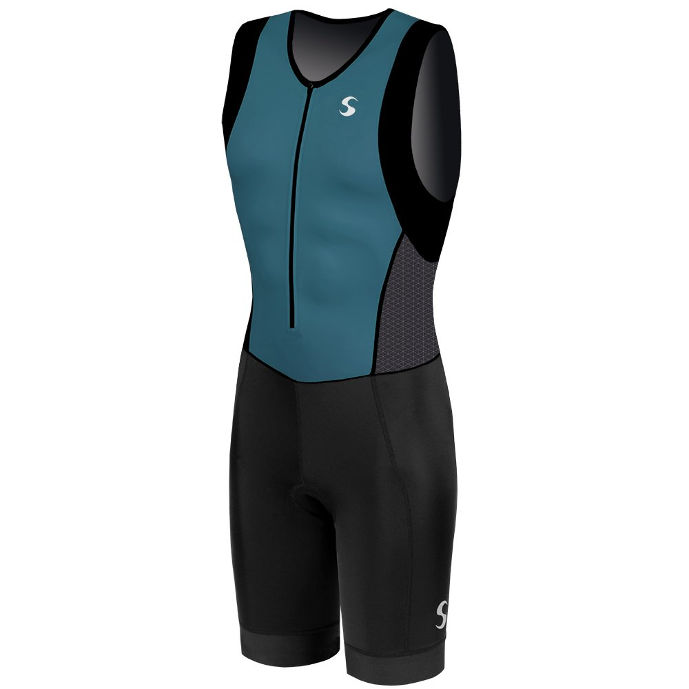 Synergy Men's Triathlon Trisuit (Dark Teal/Black, Medium)