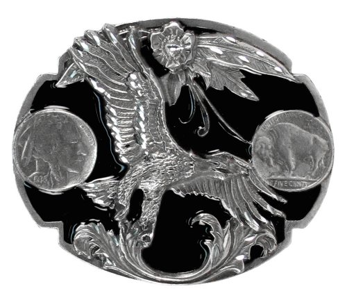Pewter Belt Buckle - Eagle with Buffalo Nickels (Diamond Cut) - Pewter Belt - Buffalo Buckle