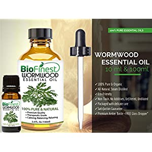 Biofinest Wormwood Essential Oil - 100% Pure Organic Therapeutic Grade - Best for Aromatherapy, Cosmetics, Deodorant, Meditation - Ease Anxiety Fatigue Nausea Insomnia Digestion - FREE E-Book (10ml)