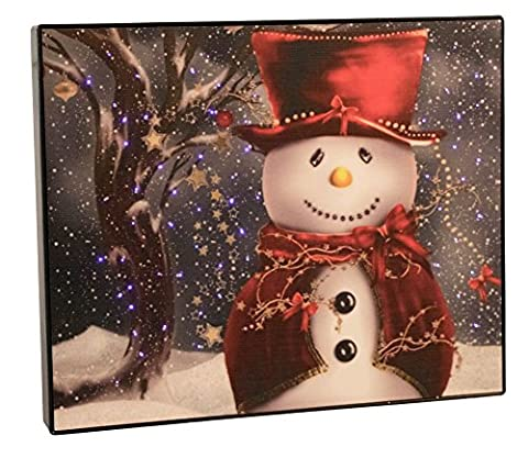 Snowman with Red Hat and Scarf Framed Wall or Tabletop LED Artwork with Touch-Activated Light Sensor - 11