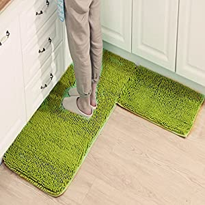 Ustide 2 Piece Grass Green Kitchen Rug Set Shaggy Chenille Rug Soft Bath Mat Non Slip Absorbent Area Rug Carpet