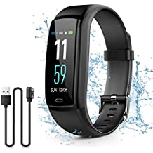 Kirlor Fitness Tracker, Waterproof Color Screen Smart Bracelet with Heart Rate Blood Pressure Monitor,Smart Watch Pedometer Activity Tracker Bluetooth for Android & iOS