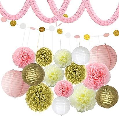 BeiLan 18Pcs Pompones de Papel decoración,Decoración Fiesta,Papel de Seda, 9 Pom Poms, 2 Papel Puntos, 4 Guirnalda de Papel,6 linternas de Papel para ...