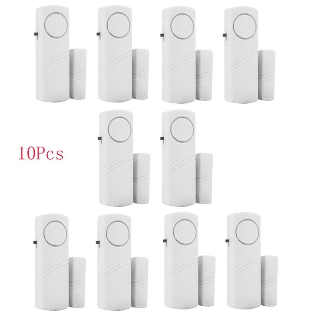 Yeefant 10PCS Convenience Installation Stability Wireless Home Security Door Window Entry Burglar Alarm System Magnetic Sensor, Dustproof and Insect Prevention, 3.6 x 1.2 x 0.7 Inch, White
