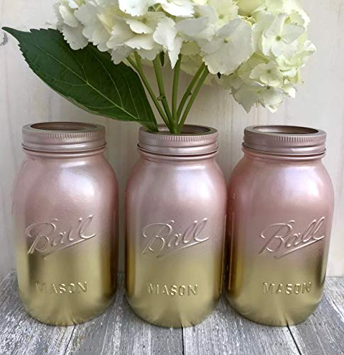 Metallic Gold and Blush Pink Painted Mason Jars, Bridal Shower Centerpiece, Set of 3 -