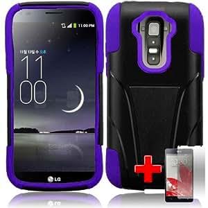 """LG G Flex - 2 Piece Silicon Soft Skin Hard Plastic """"T"""" Kickstand Case Cover, Black Purple + SCREEN PROTECTOR"""