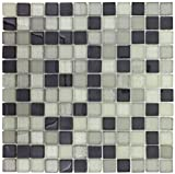 MTO0390 Modern Stacked Squares Grey White Glossy Glass Mosaic Tile
