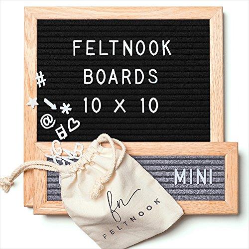 Letter Board Set - Felt Letter Board Black 10x10 PLUS Mini Letterboard Gray - 346 Changeable Board Letters - Oak Wood - Wall Hanging Sign - Personalized Message Board - Letterboards by FeltNook