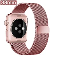 ikeen Apple Watch Band, Milanese Loop Mesh iWatch Band 38mm Watch Strap Replacement with fully stronger magnetic Closure Clasp Bracelet Strap for All Apple iWatch Sport & Edition - Rose Gold