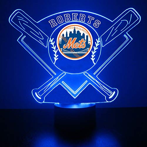 Mirror Magic Store Mets Baseball LED Night Light with Free Personalization - Night Lamp - Table Lamp - Featuring Licensed Decal