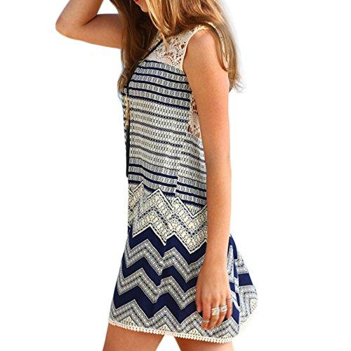 Frauen Mode Spitze Gestreift Zum Schnüren Beiläufige Kleid beachwear Minikleid Spitzenkleider Abiballkleid Ballkleid Freizeitkleider