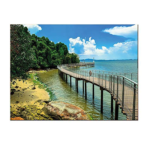 SATVSHOP Living Room painting-20Lx20W-Coastal Boardwalk on The Bridge Singapore Island Ural View Sandy Beach Summertime Green Blue Brown.Self-Adhesive backplane/Detachable Modern Decorative Art.]()