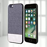 iPhone6/6s Cases, Anti-Scratch Shock-absorbing fabric business men Covers with Full Silicone Soft Edges and Great Grip, Fully-protective and Compatible for iPhone6/6s(Gray+White)