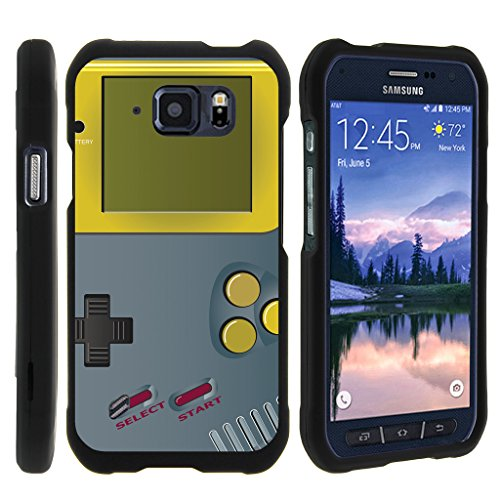 TurtleArmor | Compatible for Samsung Galaxy S6 Active Case | G890 [Slim Duo] Smooth Matte Hard 2 Piece Shell Compact Snap On Cover on Black Gaming Design - Gray Gameboy