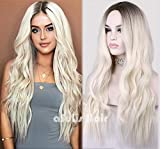 aSulis Long Wavy Full Wigs Ombre Black to Platinum Blonde Mix Two Tone Dyeing Color Synthetic Hair Wig for Women...