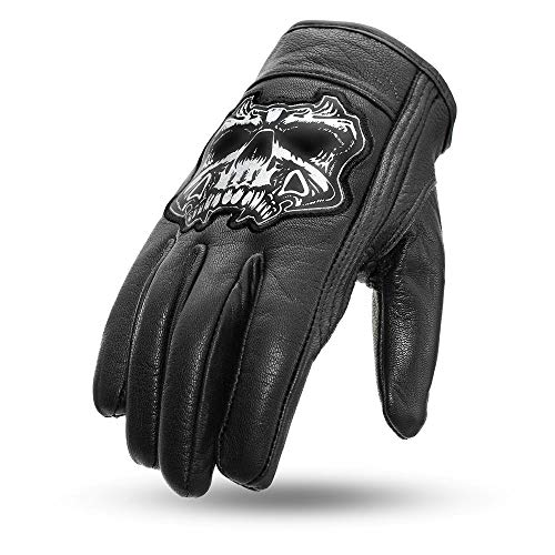 First Manufacturing Mens Griller Leather Motorcycle Gloves (Black,X-Large),1 Pack
