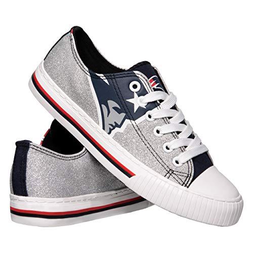 FOCO NFL New England Patriots Womens Glitter Low Top Canvas Shoesglitter Low Top Canvas Shoes, Team Color, 7/Medium