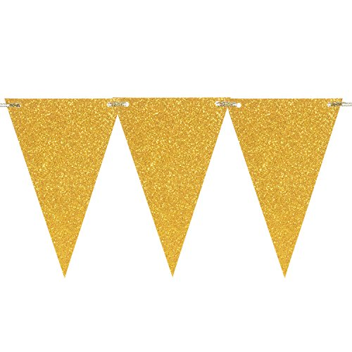Church Anniversary Banner - Takefuns 10 Feet Vintage Style Triangle Flag Bunting Glitter Paper Pennant Banner Kit for Wedding Anniversary Birthday Party Church Back-to-School Ball Cocktail Party, Gold Glitter Garland Banner