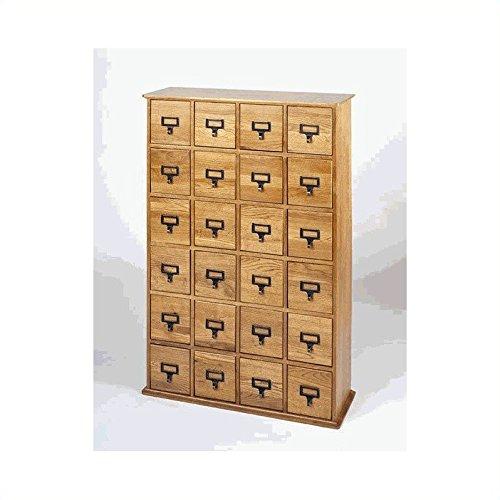 Leslie Dame CD-456 Solid Oak Library Card File Media Cabinet, 24 Drawers, Oak by LDE LESLIE DAME