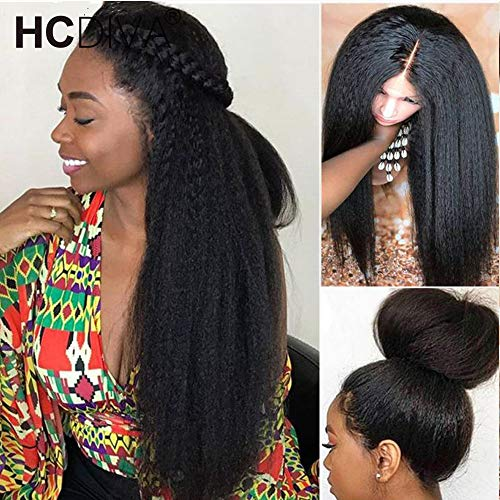 HCDIVA Kinky Straight 360 Lace Frontal Human Hair Wigs Pre Plucked with baby hair150% Density Peruvian Lace Front Wig Glueless Human Hair Wigs For Women (24inch, 360 KS)