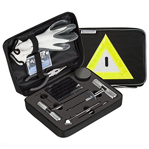 Secureguard - 66 Pieces Heavy Duty Tire Repair Kit | Designed for Flat Tire Puncture Repair | Premium Tools are Perfect for Car, Truck, Trailer, RV, ATV, Motorcycle, Tractor, or Equipment (Best Motorcycle Tyre Repair Kit)