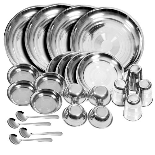 Stainless Steel Dinner Set - King International Stainless steel dinner set of 24 pcs with Branded Box Packing (Glass, Curry Bowl, Desert bowl, Spoon, Quater Plate and Full Plate)