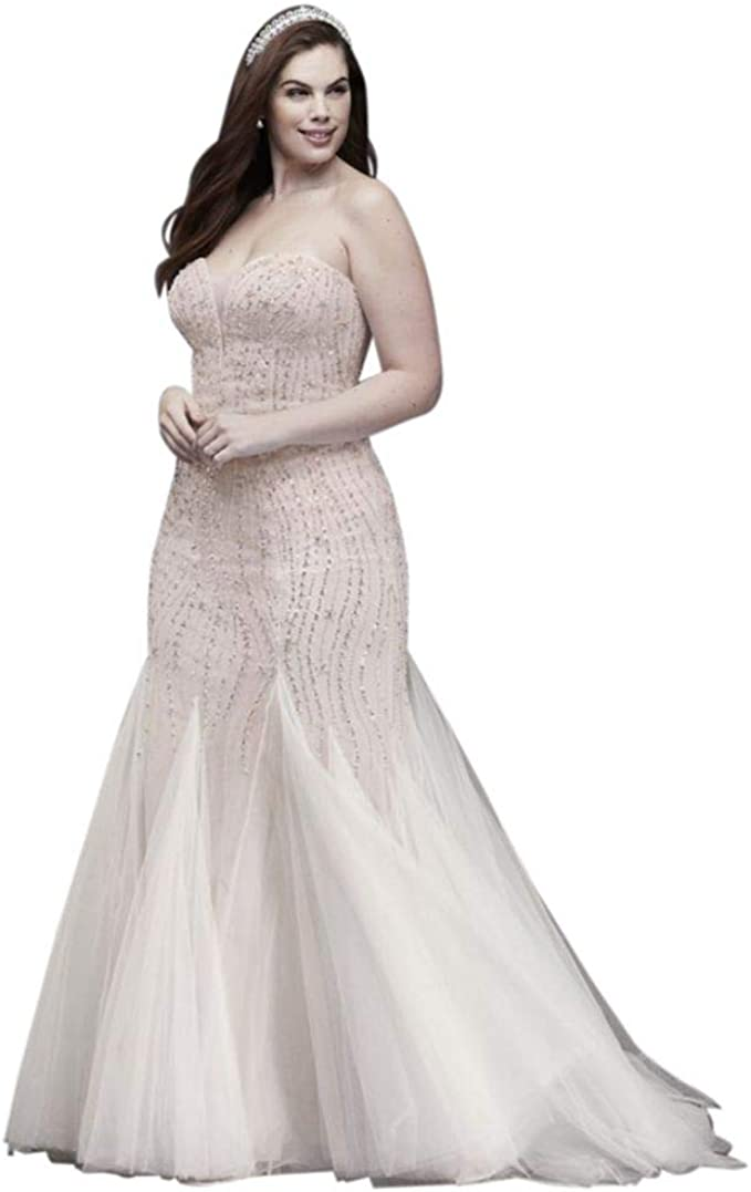 David\'s Bridal Beaded Tulle Trumpet Plus Size Wedding Dress ...