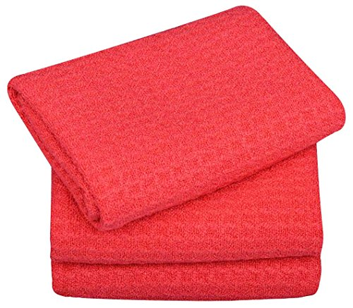 SINLAND Microfiber Dish Drying Towels Dish Towels Waffle Weave Kitchen Towels 16 Inch X 24 Inch 3 Pack Amaranth