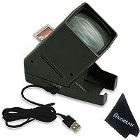 RAINBEAN Visionneuse de Film Diapositive 35 mm, visualisation de négatif sur Le Dessus de Bureau Portable à LED - grossissement 3X, Costume pour 2 * 2 Diapositives pour négatifs de Film positifs