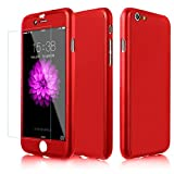 Efanr iPhone 7 Case, 360 Degree Front Back Full Body Coverage Protective Case Ultra Thin Hybrid PC Hard Case Cover with Tempered Glass Screen Protector for Apple iPhone 7 4.7 Inch (Red)