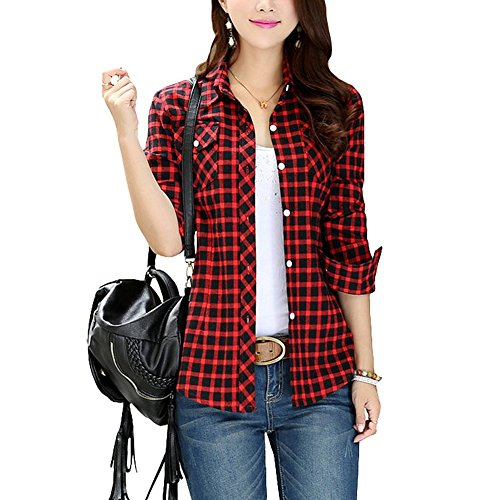 (Lasher Female Cotton Casual Plaid Button-up Shirts, Black Red, 6/8 (Tag Size XL))