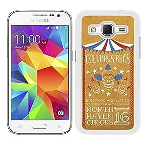 Funda carcasa para Samsung Galaxy Core Prime diseño ilustración circo calavera payaso borde blanco