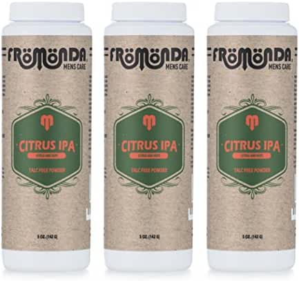 Fromonda Citrus IPA Talc-Free Body Powder - All Natural (Pack of 3), 5 oz each