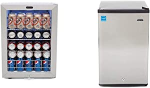 Whynter BR-091WS, 90 Can Capacity Stainless Steel Beverage Refrigerator with Lock, White & CUF-210SS Energy Star 2.1 cu. ft. Stainless Steel Upright Lock Compact Freezer/Refrigerators