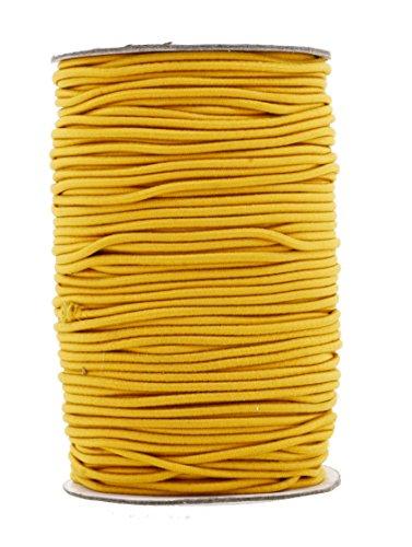 Mandala Crafts 2mm 70M Round Rubber Fabric Crafting Stretch Elastic Cord String (Gold)