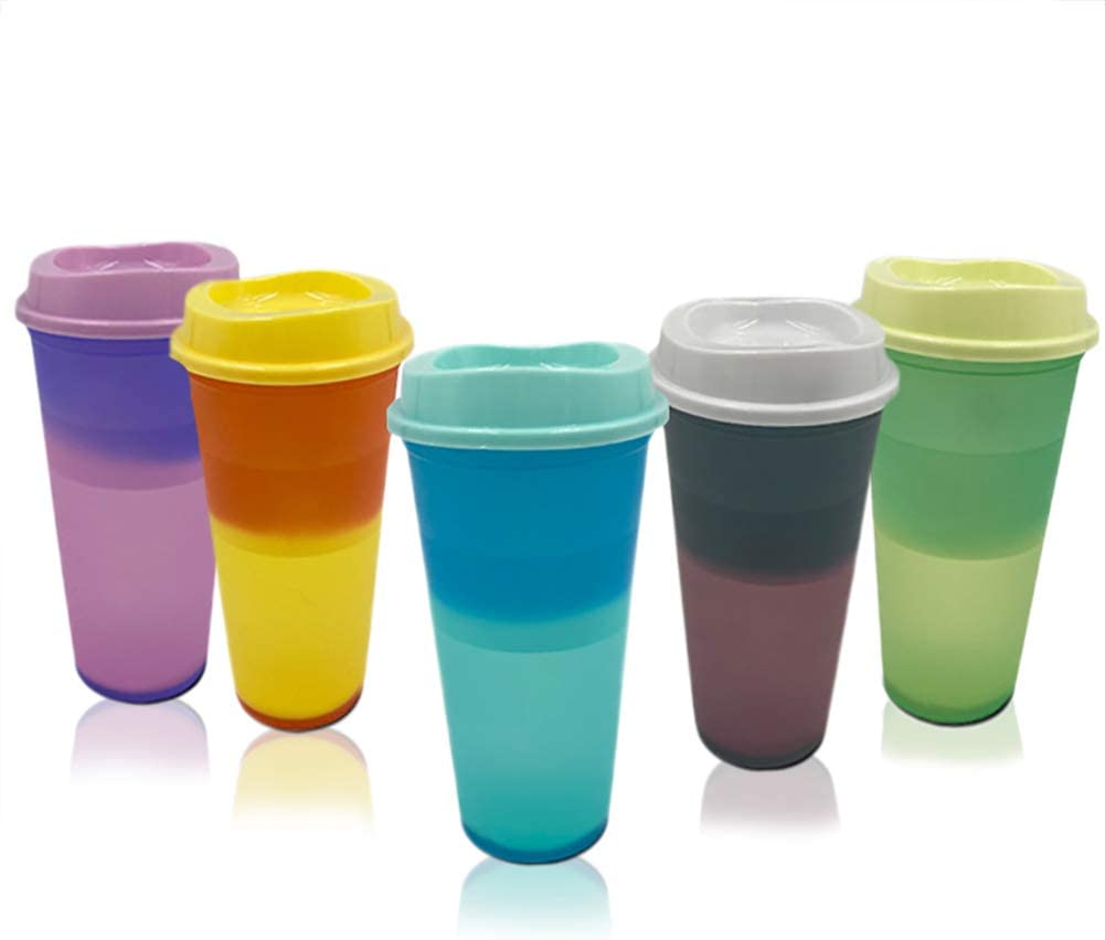 5 Pack, 16 oz Hot Color Changing Cups, Travel Tumbler with Straw and Lid, BPA Free Plastic Acrylic Cup, Reusable Daily Water Tumblers, Portable Party Coffee Tea Cup, Magic Pastel Cup for Hot Drinks