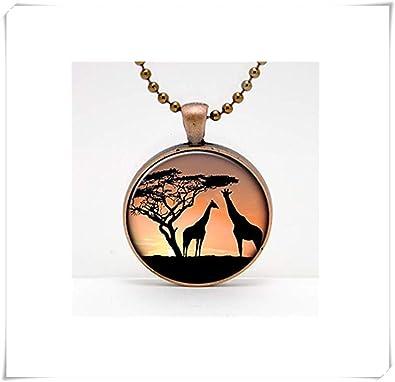 Girafas at Sunset - Colgante de cristal para foto o llavero ...