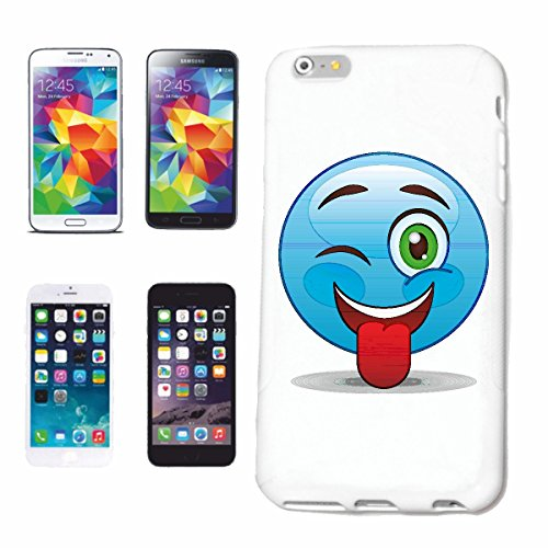 "cas de téléphone iPhone 7S ""RIRE BLEU SMILEY ""sourire EMOTICON sa SMILEYS SMILIES ANDROID IPHONE EMOTICONS IOS APP"" Hard Case Cover Téléphone Covers Smart Cover pour Apple iPhone en blanc"