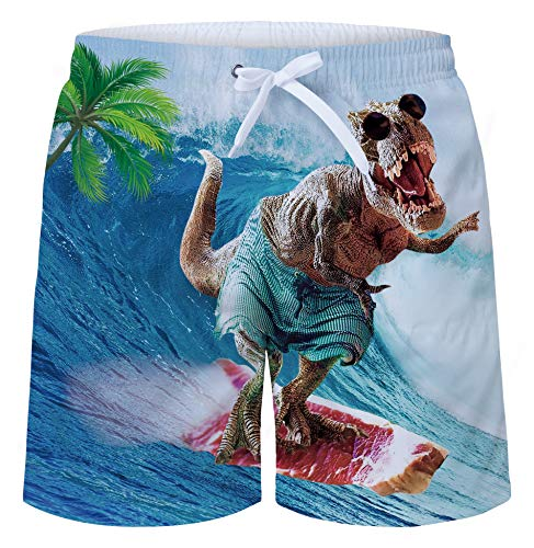 Uideazone 3D Funny Prints Surfing Dinosaur Swim Board Shorts Swim Trunks Bright Swimming Costume with Pocket for - Trunks Mens Swim Bright