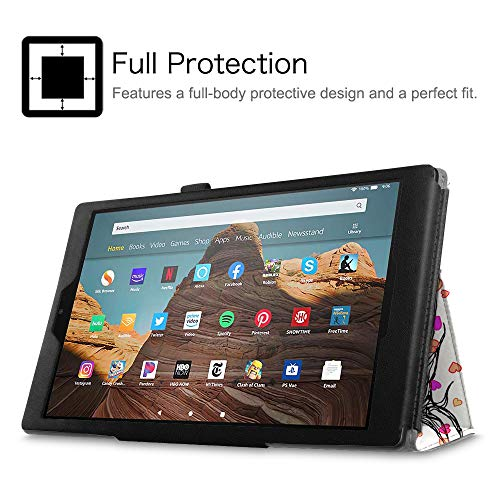 Fintie Folio Case for All-New Amazon Fire HD 10 Tablet (Compatible with 7th and 9th Generations, 2017 and 2019 Releases) - Premium PU Leather Slim Fit Stand Cover with Auto Wake/Sleep, Autumn Love