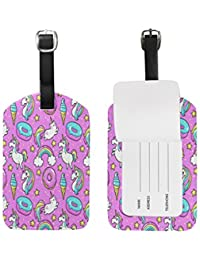 Pink Unicorn Cat Rainbow Luggage Tags Travel ID Bag Tag for Suitcase 1 Piece