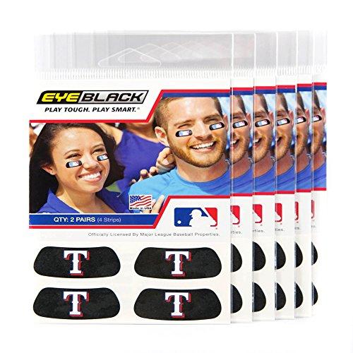 (24 Strips) Eye Black - Texas Rangers MLB Eye Black Anti Glare Strips, Great for Fans & Athletes on Game - Eye Ranger