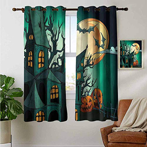 petpany Modern Farmhouse Country Curtains Halloween,Halloween Haunted Castle,Design Drapes 2 Panels Bedroom Kitchen Curtains 42
