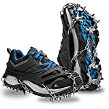 EletecPro Traction Ice Snow Cleats Crampon Stainless Steel 18 Teeth Anti-Slip Spikes Grip for Walking, Hiking, Jogging, Trekking