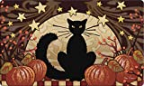 Toland Home Garden Moonlight Cat 18 x 30 Inch Decorative Halloween Floor Mat Kitty Pumpkin Doormat