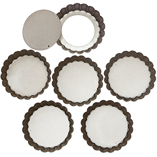 Webake 4 Inch Mini Tart Pan Set of 6, Non-Stick Quiche Pan Removable Bottom Mini Tart Tins ()