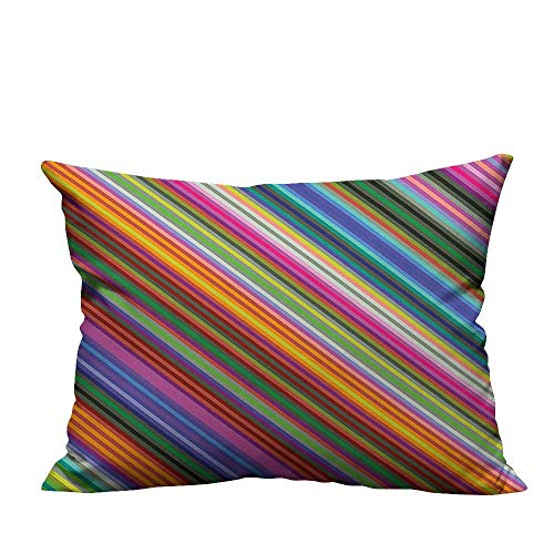 YouXianHome Decorative Throw Pillow Case Narrow Diag al L P Striped Angular Digital Style Multicolor Ideal Decoration(Double-Sided Printing) 19.5x60 inch