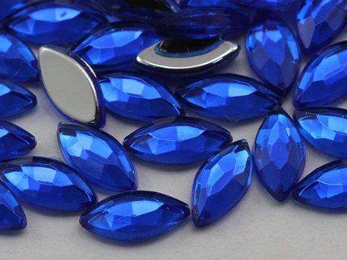 8x4mm Sapphire A09 Flat Back Navette Acrylic Jewels High ...